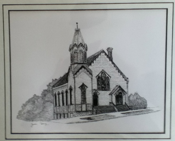 Juan worked from an old photograph of a church in his host community to make this stunning print as a submission to his art club's calendar.