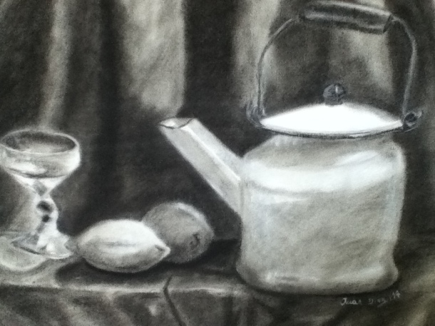 """Still life in charcoal"""
