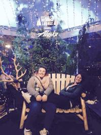 Sarah and Mackenzie in downtown Seattle during the holiday