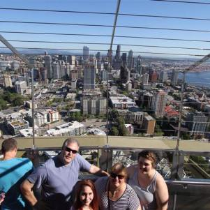 The family's first outing with Sarah to the top of the Space Needle