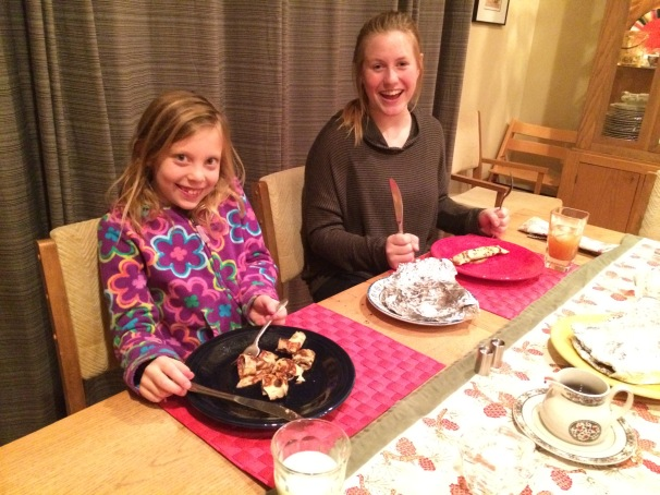 Karoline from Norway cooks Norwegian pancakes for her host family in Washington.