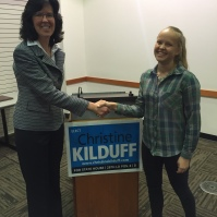 Pia from Norway meets a local politician, Christine Kilduff, to discuss international education.