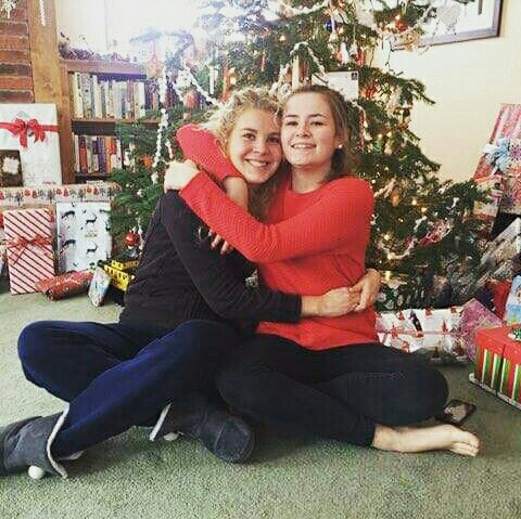 Chiara and her host sister Barbara enjoy their first American Christmas