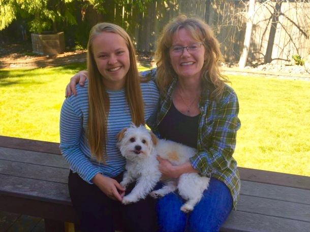 Pia from Norway with her host mom and family dog Charlie.
