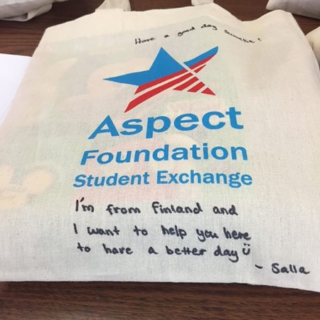 Salla's personal message included on each donated bag.