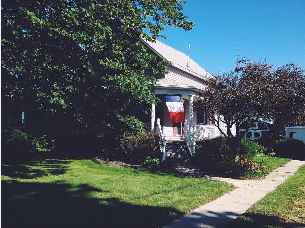 French flag outside Clara's host family home.