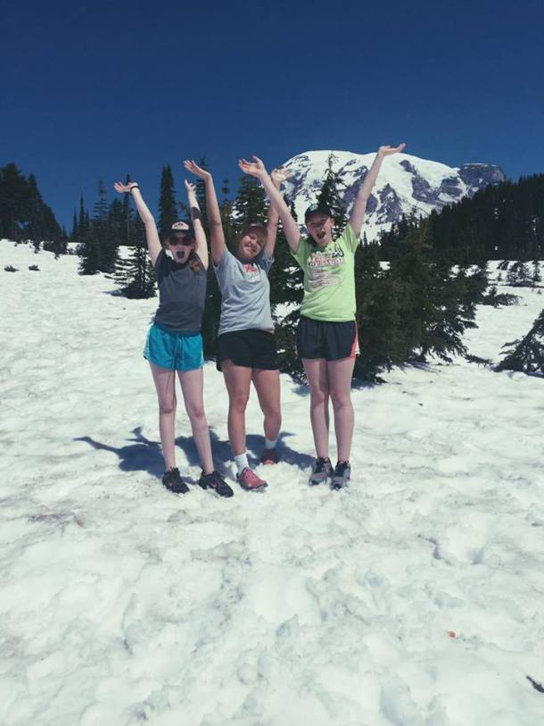 Pia and her host sisters in the snow.