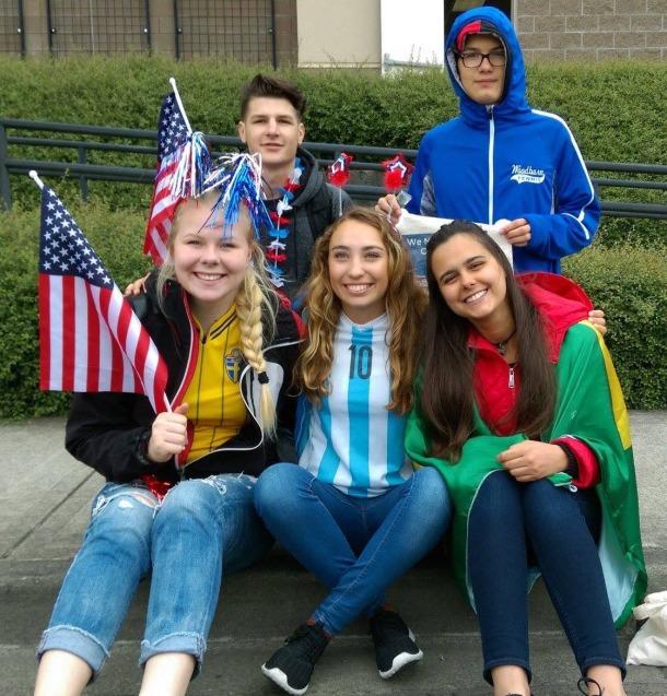 Clara from Argentina at a local parade in Washington.