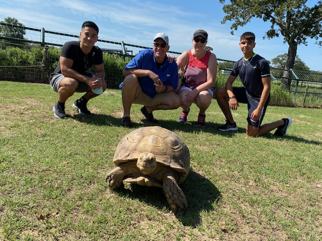 The Falke Family with Sam from Japan on the left and Victor from Spain on the right losing the race to the desert tortoise.